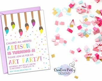Art Birthday Party Invitation - Painting Party Invitation - Art Party Invitation - Art Party Invite - Confetti - Digital File - Printable