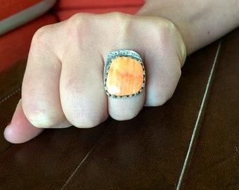 Southwestern Artisan made orange spiney oyster statement ring