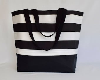 Large Canvas Tote, Waterproof, Tote with Pockets, Beach Bag, Weekender, Black and White, Extra Large