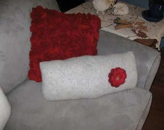 Soft Gray Sweater Pillow with Large Crocheted Cranberry Flower with Button Center