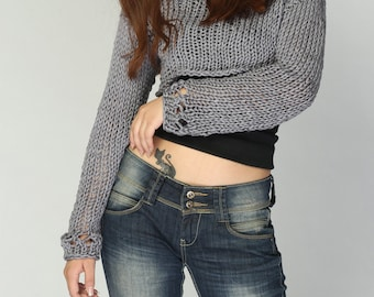 Hand knit woman sweater cropped sweater Little shrugcover up top grey sweater