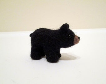 Felted Bear Cub - Needle Felted Animal - Black Bear