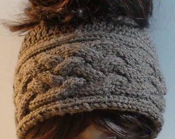 Cable Messy bun hat Pattern