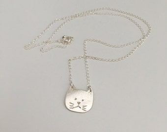 Grumpy cat, pendant necklace, fine silver with sterling chain