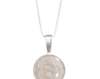 Circle Cremation Pendant, 25mm - Sterling Silver Pet Ashes Jewelry