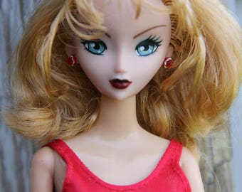 Clearance Red Rhinestone Stud Earrings for Fashion Dolls 1/6th Scale Petite Slimline 16 inch BJD Monster Fairytale Buy 5 get 1 Free