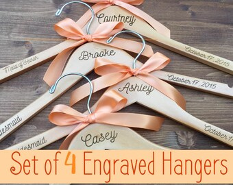 Set of 4 Engraved Bridesmaid Hangers, 4 Hangers, Name Hanger, Wedding Hanger, Personalized Bridal hanger, Bridal Gift, name hanger