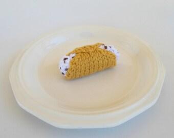 Mini Cannoli Knitted Stuffed Ornament - Kitchen Decor - Play Food - Miniature Cannoli - Stocking Stuffer - Food Ornament - Italian Ornament