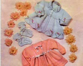 """PDF Vintage Lavenda Hand Knit Coats and Boots 18-20"""" chest 3ply"""