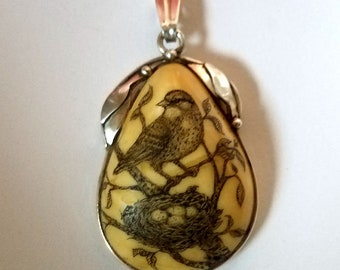 Original Scrimshaw large Baltic Amber sparrow and bird nest  pendant