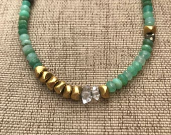 The Abundantia Necklace ~ Chrysoprase,  Herkimer diamond, pyrite, gold