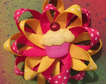 Yellow and Pink Hair Bow Barrette, Birthday Barrette