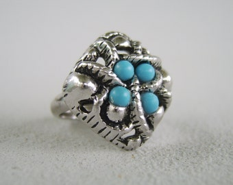 Vintage Silver Turquoise Ring Avon 70's Boho Chic