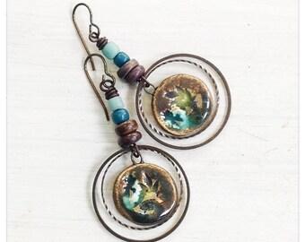 Brass hoop earrings - ceramic hoop dangles - turquoise and brown earrings - boho earrings