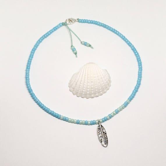 boho jewelry, beachcomber feather choker necklace