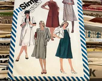 Simplicity 1980s Maternity Sewing Pattern / Vintage Dress or Jumper and Jacket / Size 10 Bust 32 1/2 / 6252