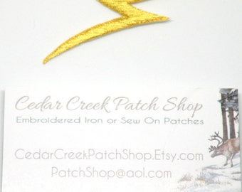 Lightening Bolt Gold Matallic, thunder, lightening, Metallic, Iron on patch, or Sew On, Lightening bolt patch by Cedar Creek patch Shop
