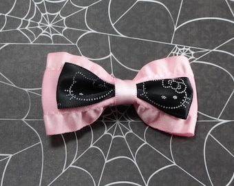 Cutest Pink and Black Kitty Hair Bow