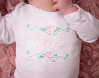 Baby girl personalized gift-- Monogrammed shirts for girls--Girls monogram shirt-- Newborn girl outfit
