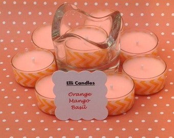 Handmade scented tea lights and holder. Choice of 2 different fragrances.
