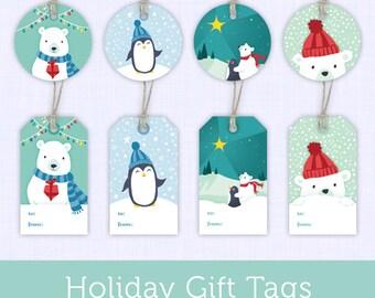 Printable Christmas Gift Tags - Printable Holiday Gift Tags - Penguins and Polar Bears Printable Gift Tags