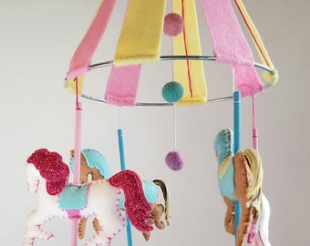 Carousel Baby Mobile, Carousel Nursery Decor, Playroom decor, Carnival Nursery Decor