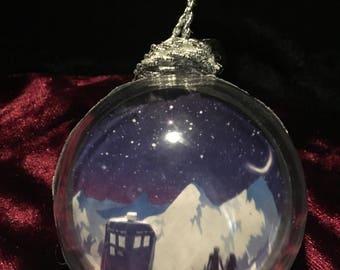 Tardis Doctor Who TIme Lord Inspired Christmas Ornament Snow Globe Christmas Present Gift