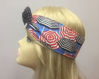 Parisienne Red and Navy umbrella PinUp Style Headband
