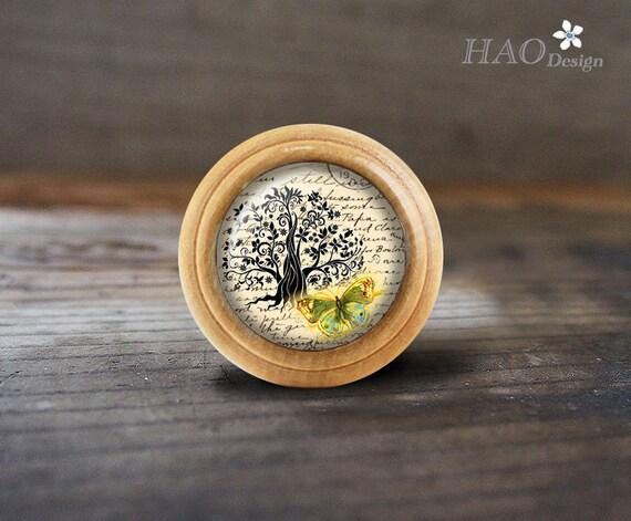 Pomos de madera de árbol de la vida cómoda de cúpula / manijas de ...