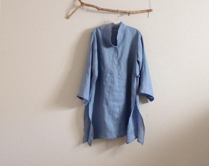 custom tropical linen ao dai tunic blouse /plus size ao dai/summer linen blouse /ao dai wedding/Vietnamese ao dai/ qipao tunic / light linen