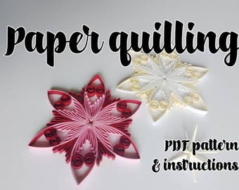 Quilling pattern / tutorial / how to, Christmas ornament, wedding decoration (QD13) - DIY, PDF Instant download
