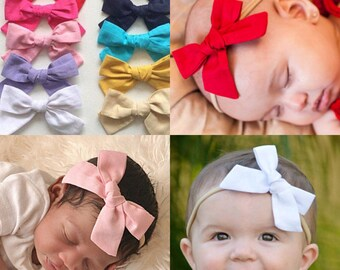 U CHOOSE COLOR  cotton hair bow Headband fabric bow baby headband, nylon newborn girl pinwheel knot white