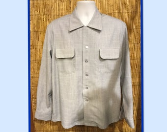 Vintage 1950s Hollywood Rogue fleck fabric shirt.. Currently available in medium