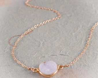 White Round Druze Framed in Gold Vermeil, Sparkling Druzy Stone on 14K Gold Fill Necklace, Natural Druze, Simple Jewelry by Shibusa Studio