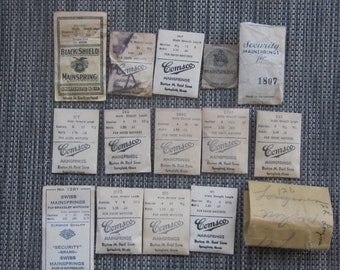 Mainsprings for Watches Quantity of 15 in Original Packages Early 1900 Era