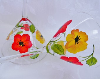 Martini glasses with poppies, painted martini glasses, martini glasses with flowers, large martini glasses, cocktail glasses