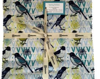 """Clothworks- 10"""" Squares """"Spring Robins"""" by Teresa Magnuson- 42 -10 inch squares. Layer Cake, bird fabric, floral fabric, modern fabric"""