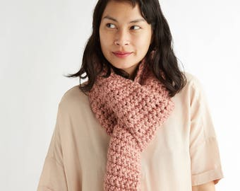 Crocheted Standard Scarf in Pale Rose