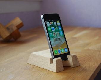 Support smartphone minimaliste en chêne français