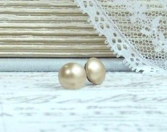 Gold Pearl Earrings Pearl Stud Earrings Gold Pearl Studs Surgical Steel Studs Gold Pearl Jewelry