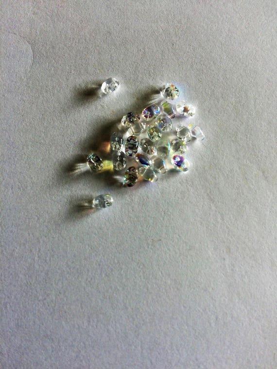 Matubo Czech MiniDuo bead Crystal AB 2.5x4mm 2 hole bead 10g