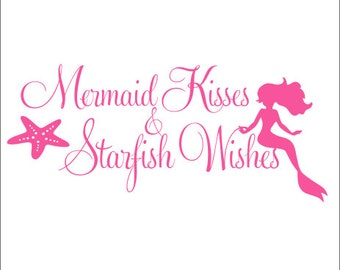 Mermaid Kisses Wall Decal Starfish Wishes Wall Decal Vinyl Wall Decal Nursery Decal Bedroom Decal Mermaid Bedroom Wall Decor Starfish Wall