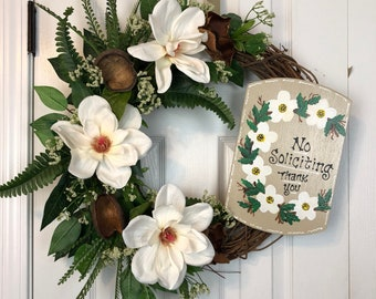 Magnolia welcome wreath, Welcome wreath, magnolia wreath, no soliciting wreath, floral wreath, front door wreath, all year wreath
