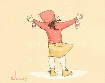 Children's Wall Art Print - January's Fresh Start - 8x8 - Girl Kids Nursery Room Decor