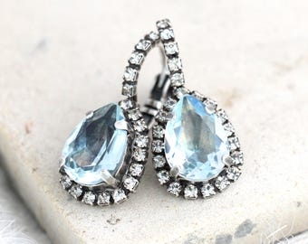 Aquamarine Earrings, Light Blue Earrings, Bridal Aquamarine Drop Earrings, Blue  Drop Earrings, Light Azure Earrings, Swarovski Earrings