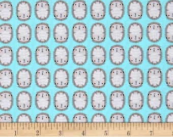 Suzy's Minis Aqua Hedgehog cotton fabric by the yard - for Robert Kaufman - designer fabric