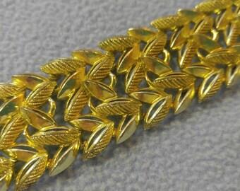 Lovely Gold Leaf Motif Wide Bracelet~Vintage!