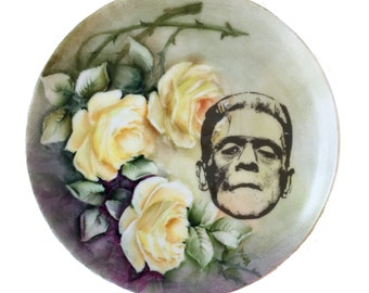 Vintage - Illustrated - Frankenstein Plate - Upcycled - Wall Display  - China  - Altered - Antique-Plate