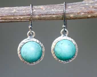 Round cabochon blue turquoise earrings in silver bezel setting with oxidized sterling silver hooks style(FBA)