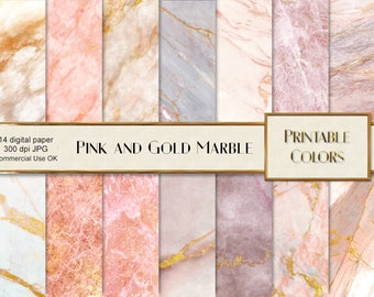Pink Gold Marble digital paper, instant download, marble background, marble scrapbook, gold marble, pink marble, pink texture marble, marble